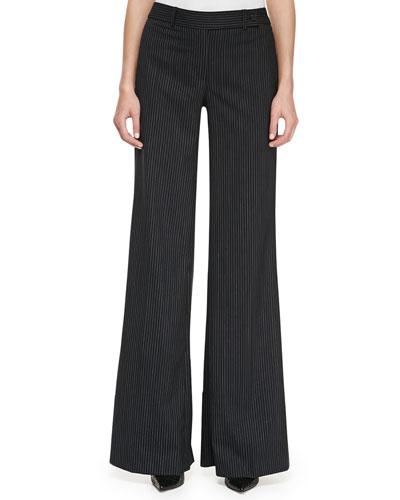 Pinstriped Wide-Leg Pants