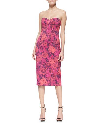 Strapless Floral-Print Sheath Dress