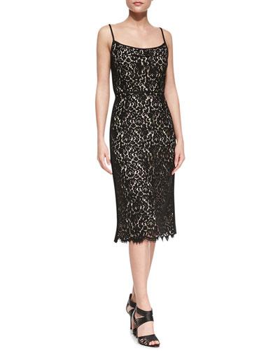 Sleeveless Floral Lace Dress, Black