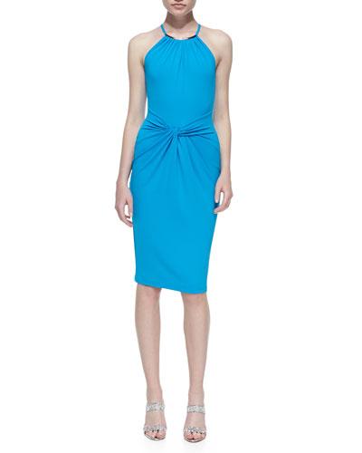 Jersey Necklace Halter-Neck Dress, Pool