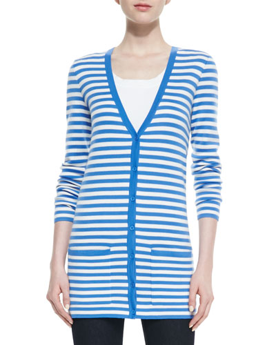 Super Soft Cashmere Striped Boyfriend Cardigan, Sea-White
