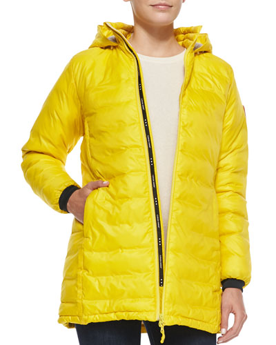 Camp Hooded Mid-Length Puffer Coat, Yellow
