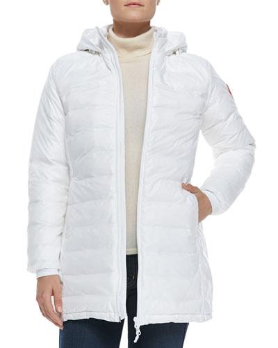 Camp Hooded Mid-Length Puffer Coat, White