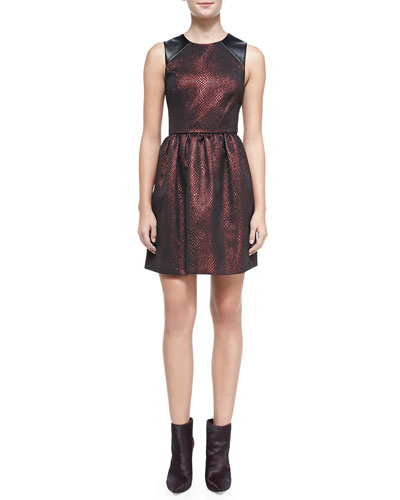 Cobra Faux-Leather-Inset Jacquard Dress, Red