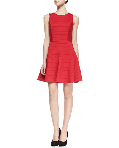 Anna Pintuck-Tiered Fit-And-Flare Dress, Red
