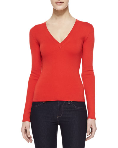 V-Neck Long-Sleeve Cashmere Sweater, Coral