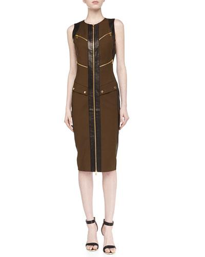 Broadcloth Utility Zip Dress, Olive