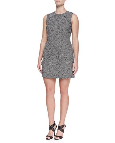 Tweed Jacquard Origami Sheath Dress, Women's