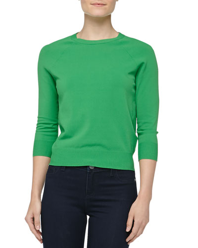 Crewneck Crepe Raglan Sweater, Palm