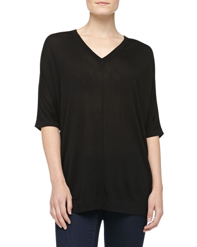 V-Neck Silk Jersey Poncho, Black