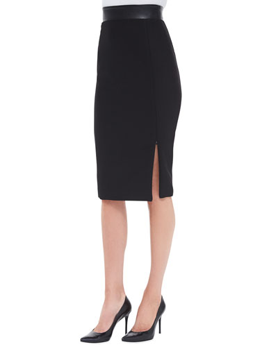 Willow Leather-Waist Pencil Skirt