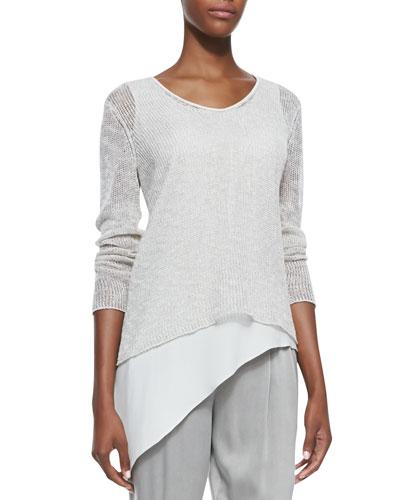 Airy Linen V-Neck Top, Women's