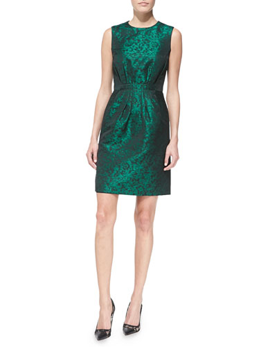 Sleeveless Shantung Pleated-Skirt Dress