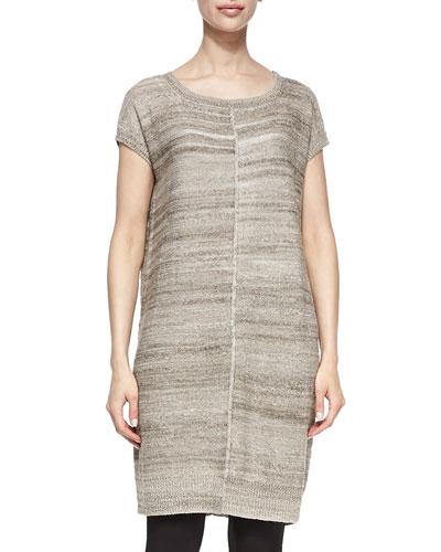 Short-Sleeve Linen-Blend Tunic