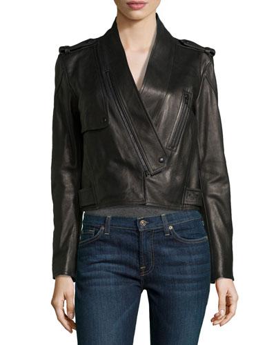 Shawl-Collar Leather Motorcycle Jacket