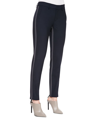 Side-Strap Straight-Leg Pants, Coastal/Slate
