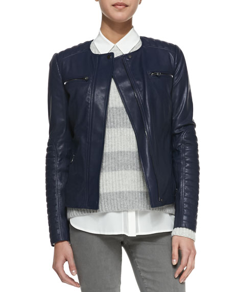 Vince Quilted Sleeve Leather Moto Jacket