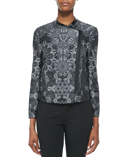 Boxy Medallion Jacquard Jacket, Dark Gray