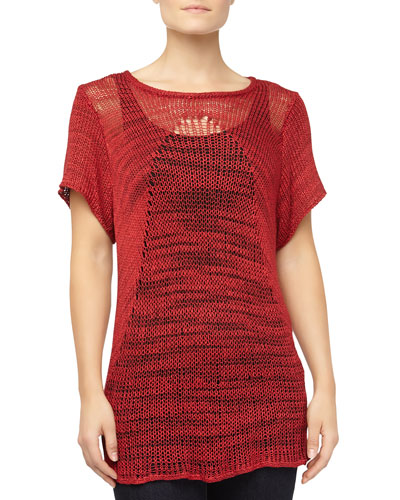Marled Mixed-Knit Sweater, Red