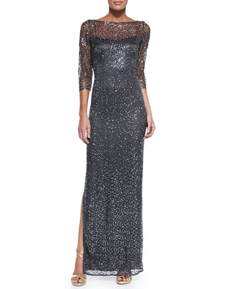 c39437380e2 Kay Unger New York 3 4-Sleeve Sequined Lace Overlay Gown. 3 4-Sleeve  Sequined Lace Overlay Gown