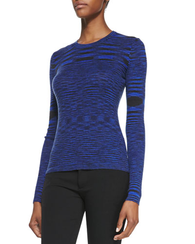 Space-dye Cashmere Long-Sleeve Top, Sapphire