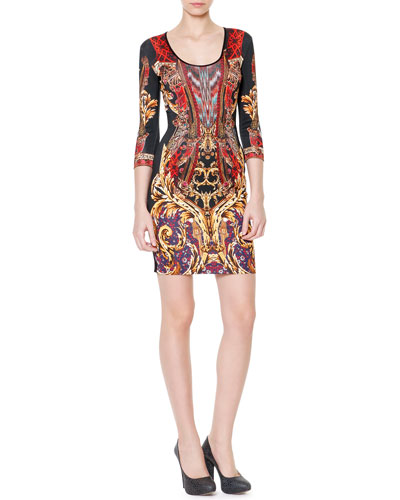 3/4-Sleeve Gypsy Knife Print Dress