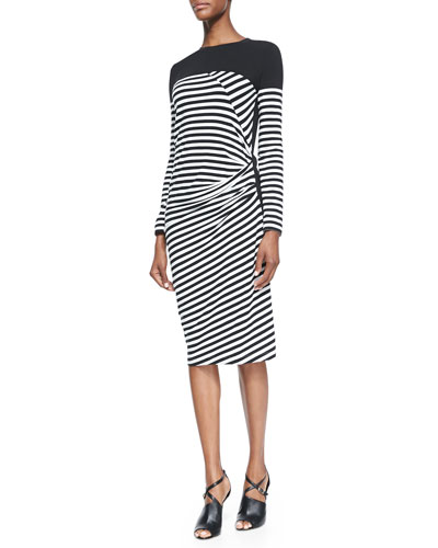 Striped Draped-Front Dress