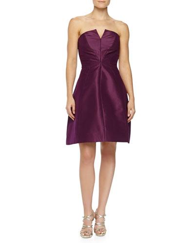 Strapless A-line Party Dress, Plum