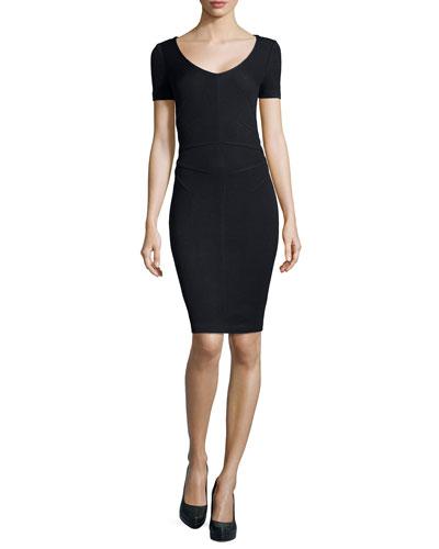 Santana Knit Short-Sleeve Sheath Dress, Onyx