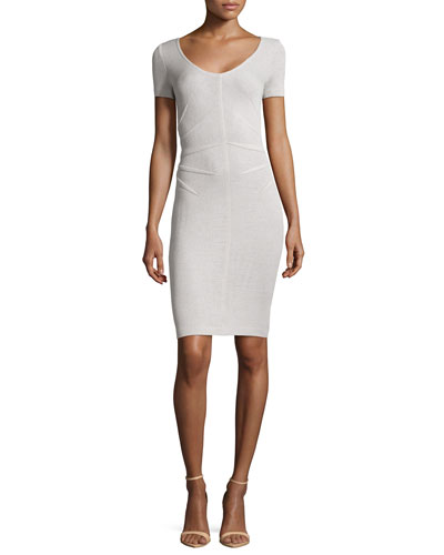 Santana Knit Short-Sleeve Sheath Dress, Platinum