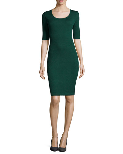 Santana Knit Half-Sleeve Sheath Dress, Emerald