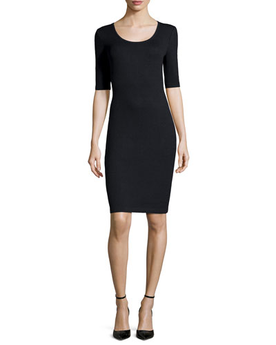 Santana Knit Half-Sleeve Sheath Dress, Oynx