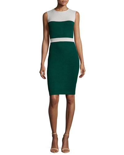 Santana Knit Sleeveless Colorblock Dress, Emerald/Platinum