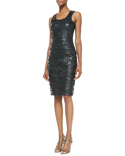 Sleeveless Embroidered Leather-Front Dress