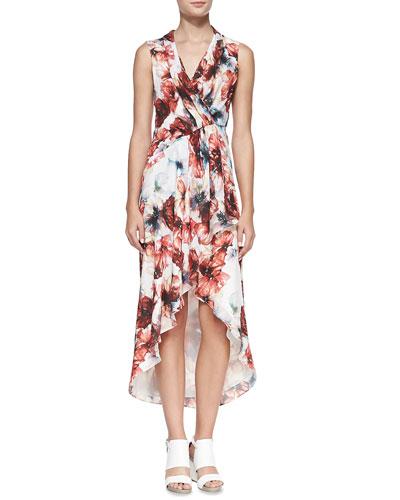 Floral-Print High-Low Chiffon Dress