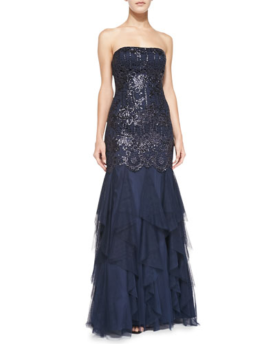 Sequined Gown w/ Ruffled Skirt