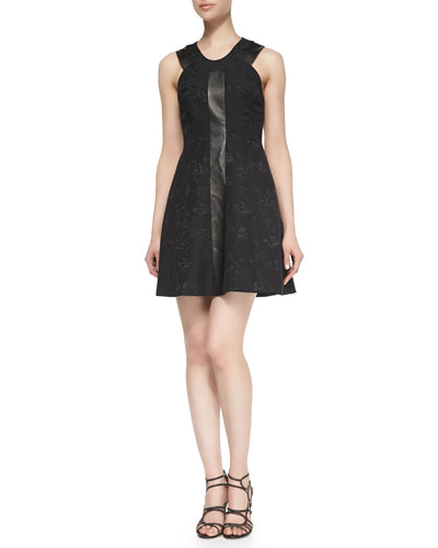 Quilted Floral & Leather Dress