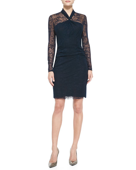 7a7605eac5c Kay Unger New York Long-Sleeve Lace Overlay Sheath Dress