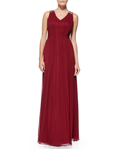 Sleeveless Beaded-Back Silk Gown
