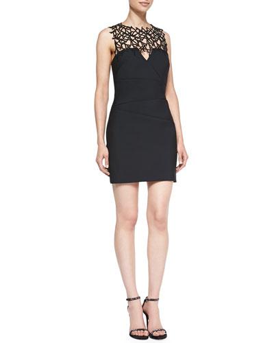Sleeveless Lattice-Yoke Cocktail Dress