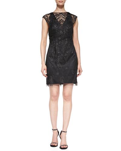 Beaded Lace Yoke Cocktail Dress