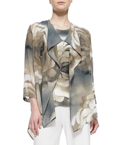 Draped Watercolor Rose-Print Jacket, Women's
