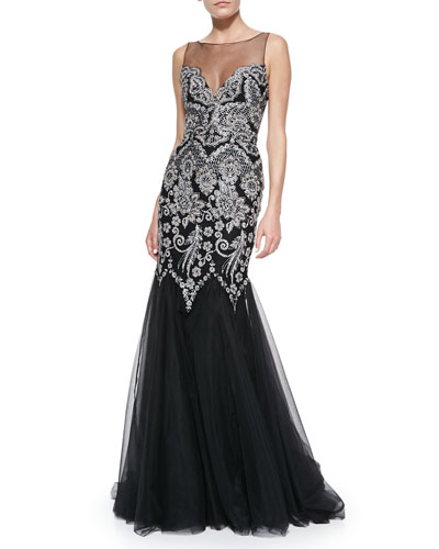Sleeveless Embroidered Top Mermaid Gown