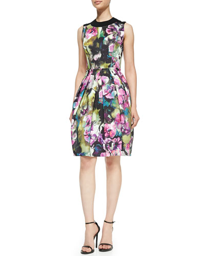 Sleeveless Floral-Print Bell-Skirt Dress