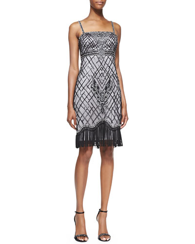 Sleeveless Beaded Fringe Cocktail Dress