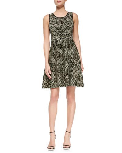 Sleeveless Fit-and-Flare Metallic Dress