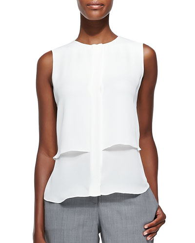 Gentaire Sleeveless Double-Layer Silk Top
