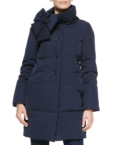funnel-neck puffer coat with bow detail