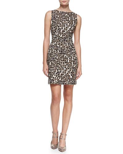 autumn leopard domino sheath dress
