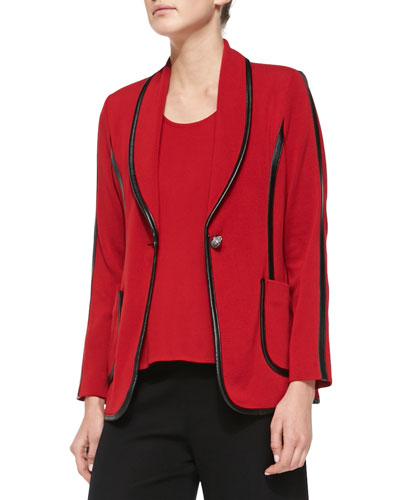Faux-Leather-Piped Knit Jacket, Women's